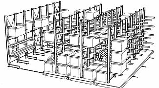 Cantilever racking on mobile trolleys, 3-D sketch